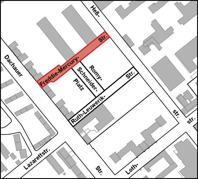 Der Verlauf der Freddie-Mercury-Straße wird in roter Farbe gezeigt. Die Straße verläuft von der Dachauer Straße nach Nordwesten bis zur Heßstraße, nordwestlich und parallel zur Ruth-Leuwerik-Straße. Link öffnet eine vergrößerte Darstellung in einer Diashow.